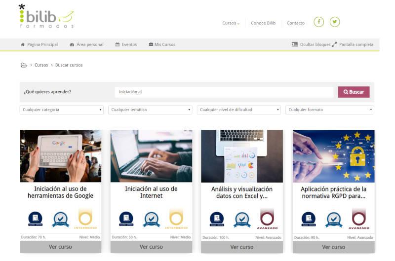 Listado nuevos cursos online formados.bilib.es